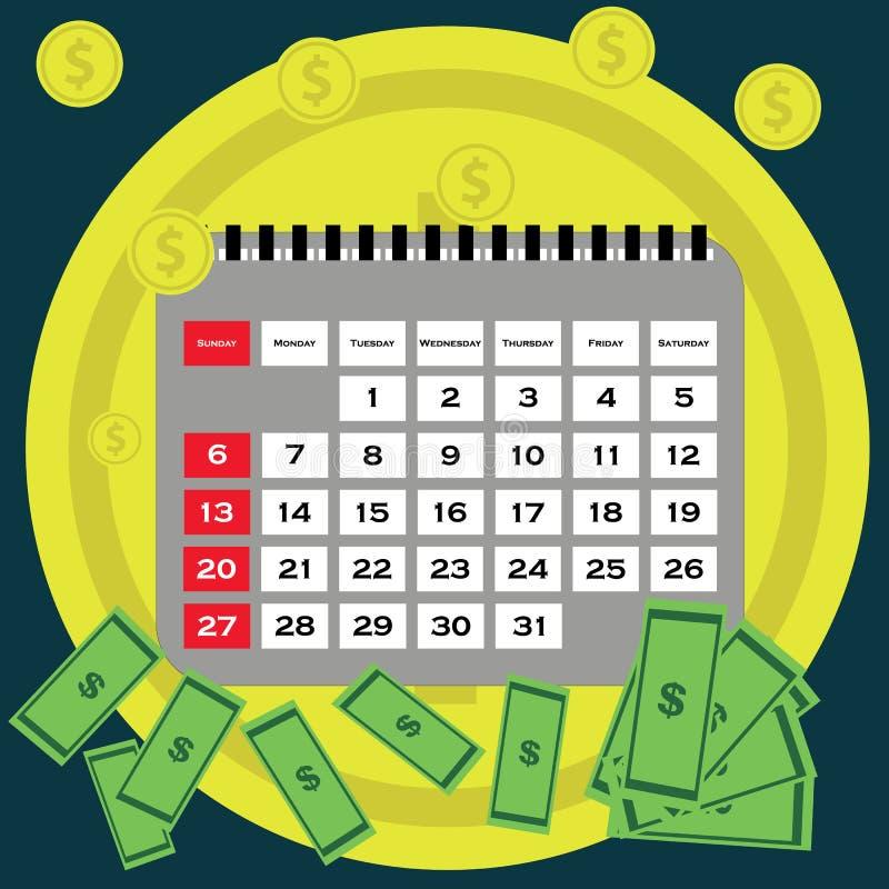 Het vlakke ontwerp van het schuldconcept Besparingsgeld voor het betalen van rekeningen royalty-vrije illustratie