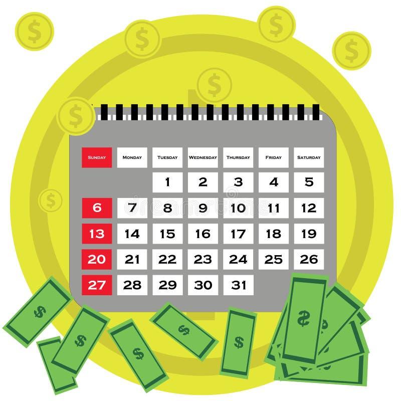 Het vlakke ontwerp van het schuldconcept Besparingsgeld voor het betalen van rekeningen Bedrijfs, financiën en investeringsconcep royalty-vrije illustratie