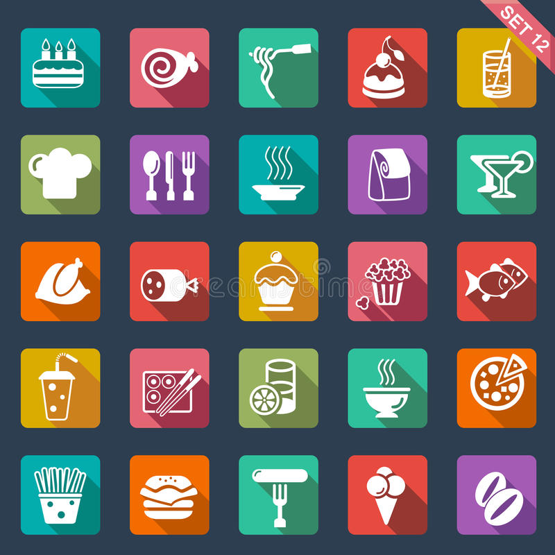 Het vlakke ontwerp van voedselpictogrammen royalty-vrije illustratie