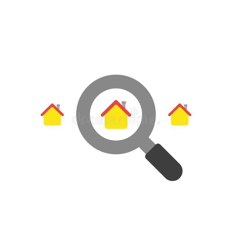 Het vlakke ontwerp vectorconcept van zoekt huis met meer magnifier vector illustratie
