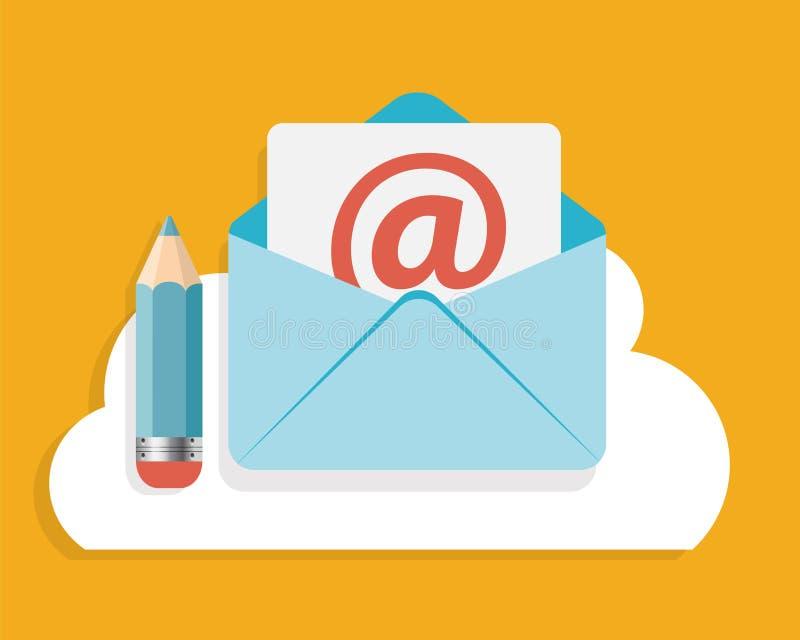 Het vlakke Ontwerpconcept E-mail schrijft Pictogramvector stock illustratie