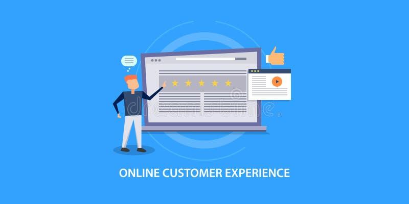 Het vlakke ontwerpconcept klantenervaring, koppelt, evaluatie, classificatie, tevredenheid, overzicht terug vector illustratie