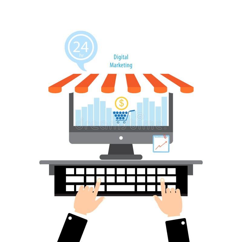 Het vlakke ontwerpconcepten online winkelen en digitale marketing vector illustratie