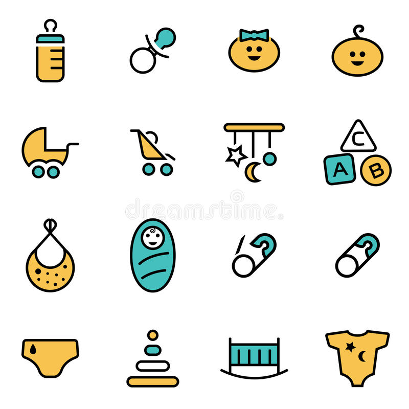 Het in vlakke pak van het lijnpictogram voor ontwerpers en ontwikkelaars Vector het pictogramreeks van de lijnbaby stock illustratie