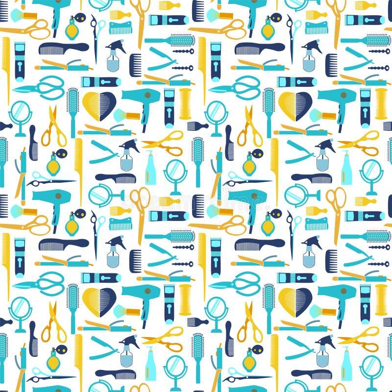 Het vlakke patroonkappen en kapperswinkel verwant symbool royalty-vrije illustratie