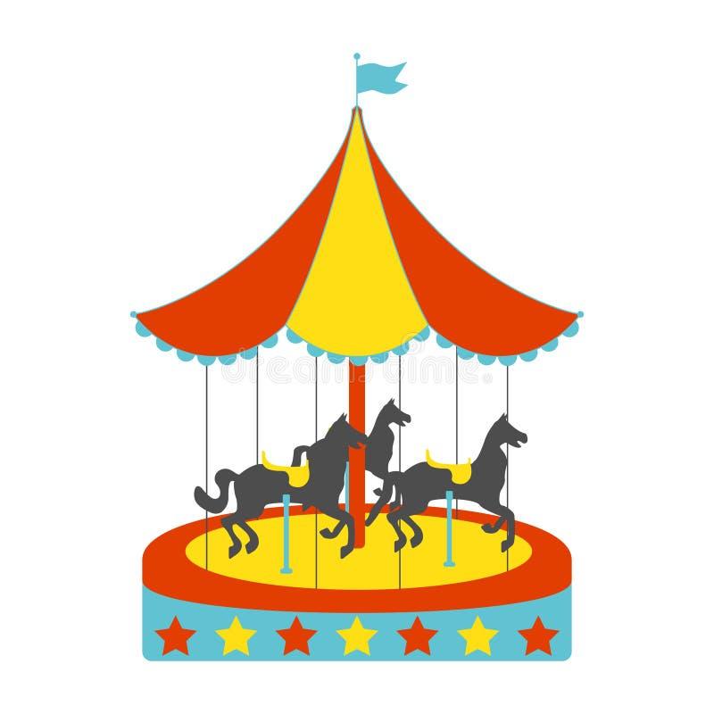 Het vlakke pictogram van carrouselpaarden Uitstekende vectorillustratie royalty-vrije illustratie