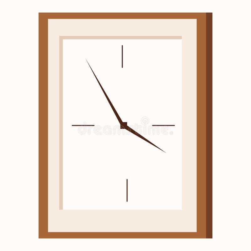 Het vlakke pictogram van de beeldverhaalstijl van de rechthoekige klok van de vormmuur royalty-vrije illustratie