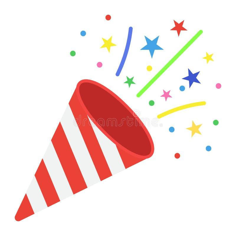 Het vlakke pictogram van de confettienpopcornpan, Nieuwe jaar en Kerstmis stock illustratie