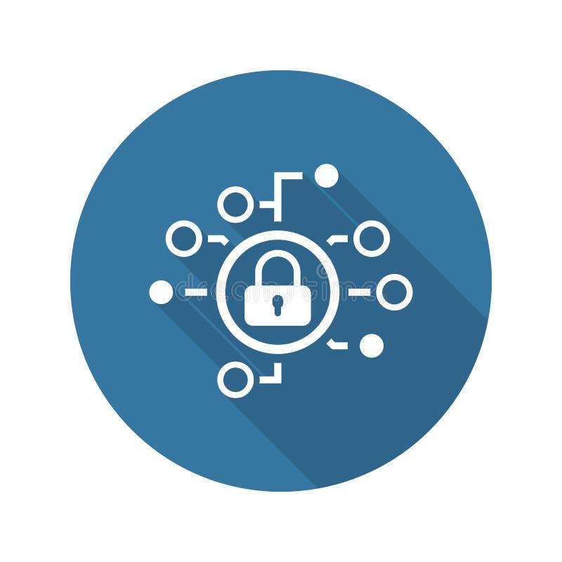 Het Vlakke Pictogram van de Cyberveiligheid met Stootkussenslot royalty-vrije illustratie