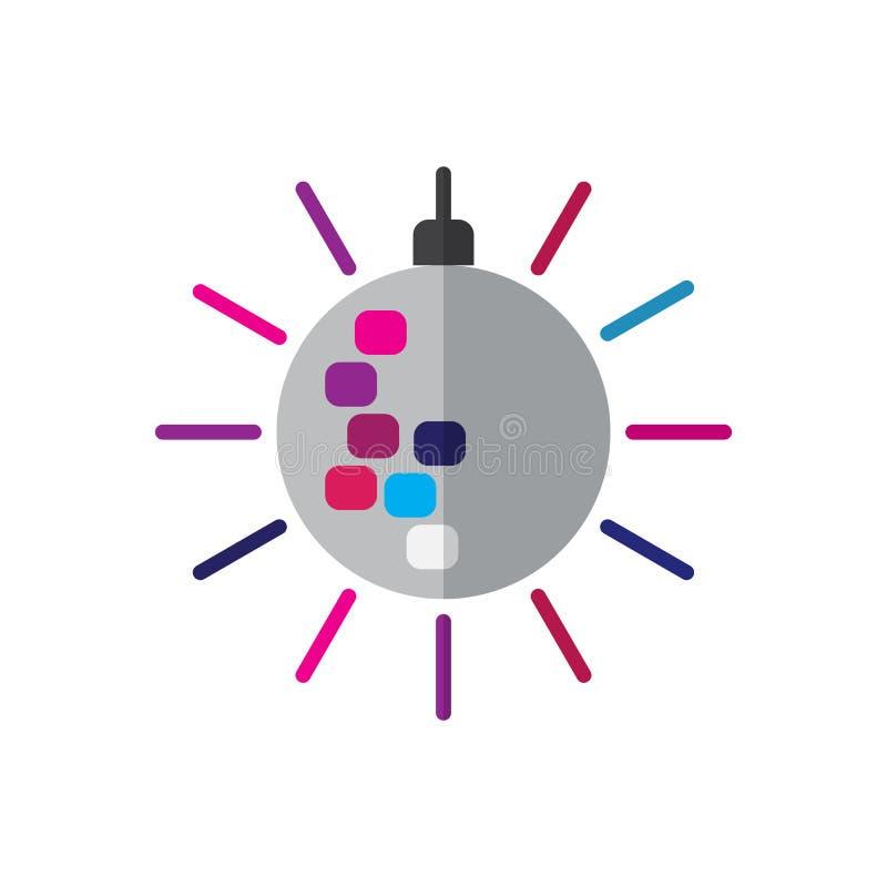 Het vlakke pictogram van de discobal, gevuld vectorteken, kleurrijk die pictogram op wit wordt geïsoleerd royalty-vrije illustratie
