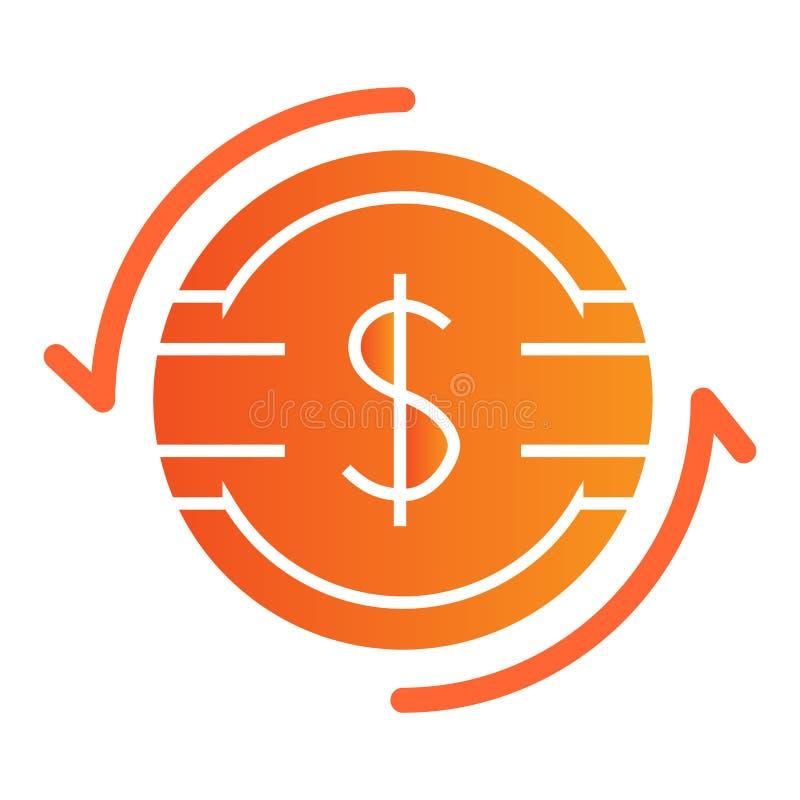 Het Vlakke Pictogram van de dollaruitwisseling Dollarmuntstuk met de pictogrammen van de pijlenkleur in in vlakke stijl Het ontwe stock illustratie