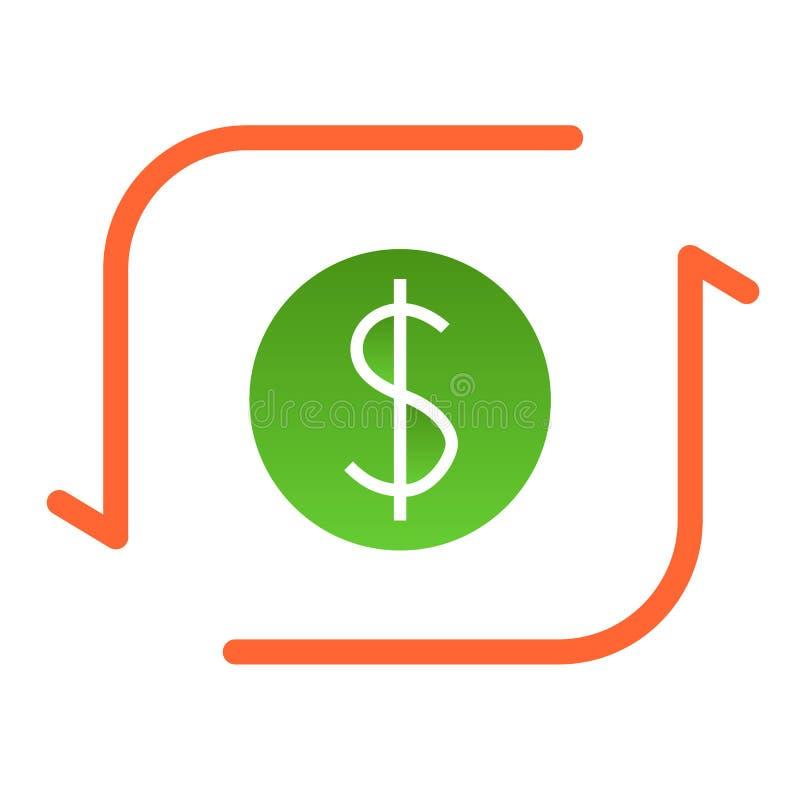 Het Vlakke Pictogram van de dollaruitwisseling De kleurenpictogrammen van de geldoverdracht in in vlakke stijl Dollarteken met de vector illustratie