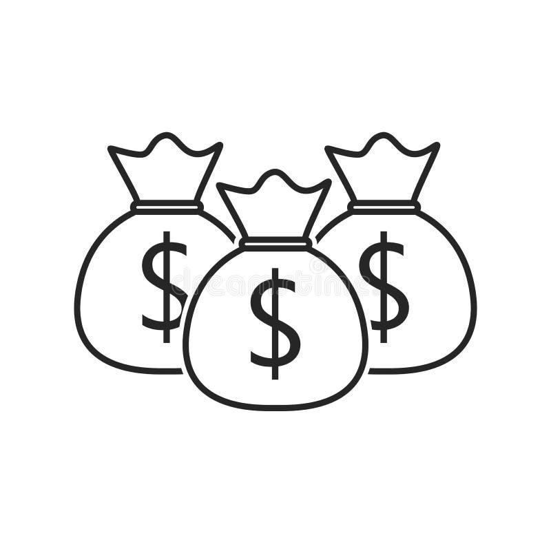 Het vlakke pictogram van de geldzak op witte achtergrond, voor om het even welke gelegenheid stock illustratie