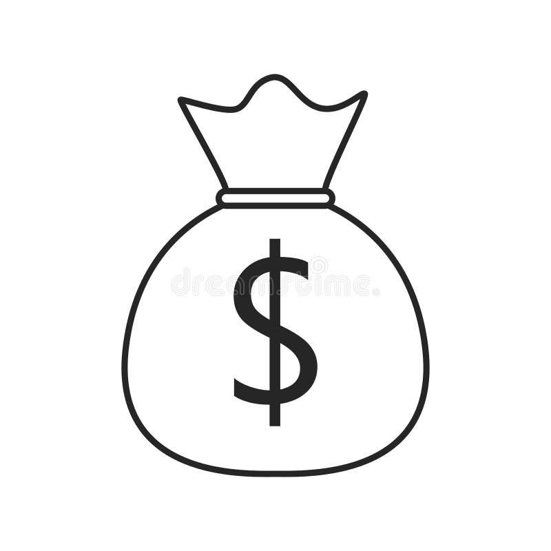 Het vlakke pictogram van de geldzak op witte achtergrond, voor om het even welke gelegenheid vector illustratie