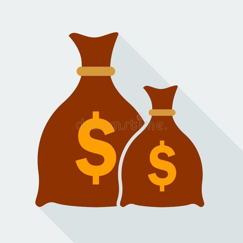 Het vlakke pictogram van de geldzak stock illustratie
