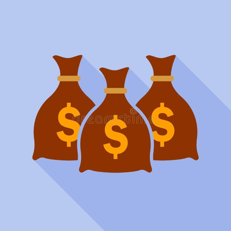 Het vlakke pictogram van de geldzak royalty-vrije illustratie