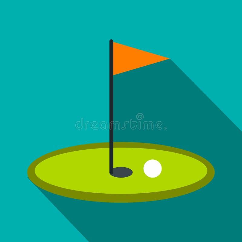 Het vlakke pictogram van de golfvlag royalty-vrije illustratie