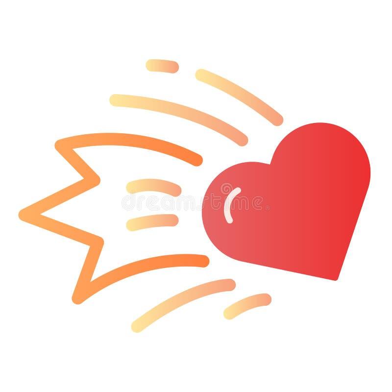 Het vlakke pictogram van de hartkomeet Dalende de kleurenpictogrammen van het sterhart in in vlakke stijl Stervormig de stijlontw royalty-vrije illustratie