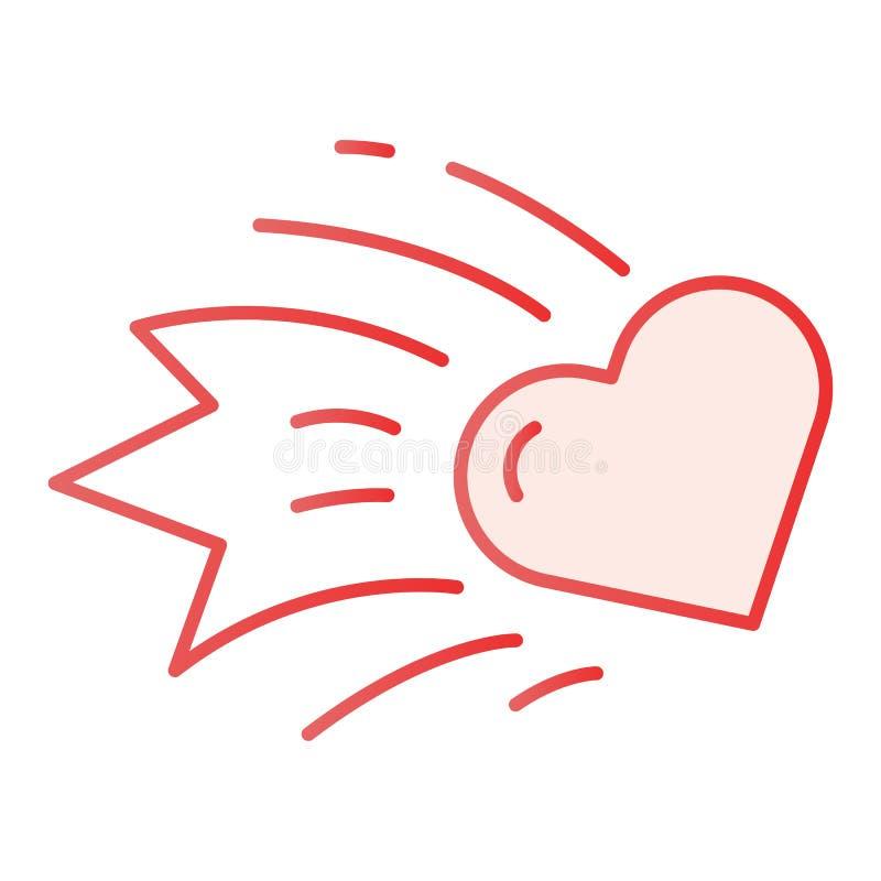Het vlakke pictogram van de hartkomeet De dalende roze pictogrammen van het sterhart in in vlakke stijl Stervormig de stijlontwer vector illustratie