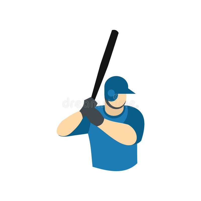 Het vlakke pictogram van de honkbalspeler stock illustratie