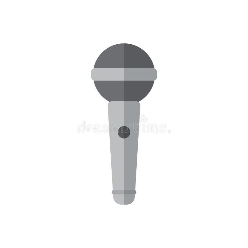 Het vlakke pictogram van de karaokemicrofoon, gevuld vectorteken, kleurrijk die pictogram op wit wordt geïsoleerd vector illustratie