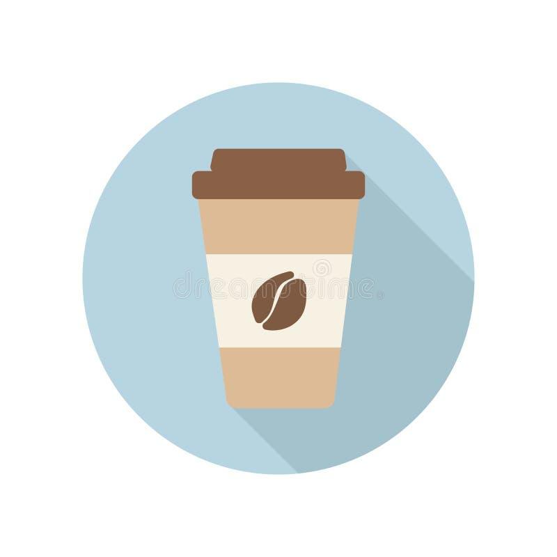 Het vlakke pictogram van de koffiekop stock foto