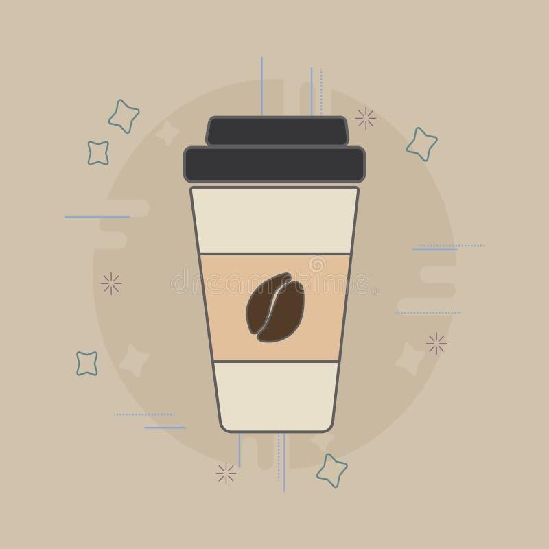 Het vlakke pictogram van de koffiekop Koffie om te gaan royalty-vrije stock foto