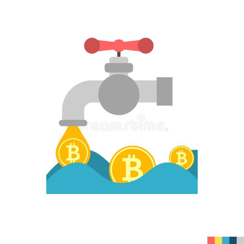 Het Vlakke Pictogram van de muntstuktapkraan vector illustratie
