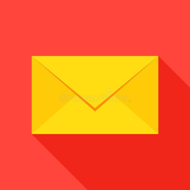 Het Vlakke Pictogram van de postenvelop vector illustratie