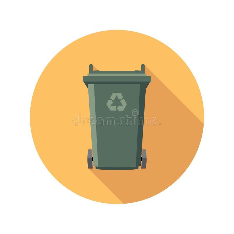 Het vlakke pictogram van de recyclings wheelie bak vector illustratie