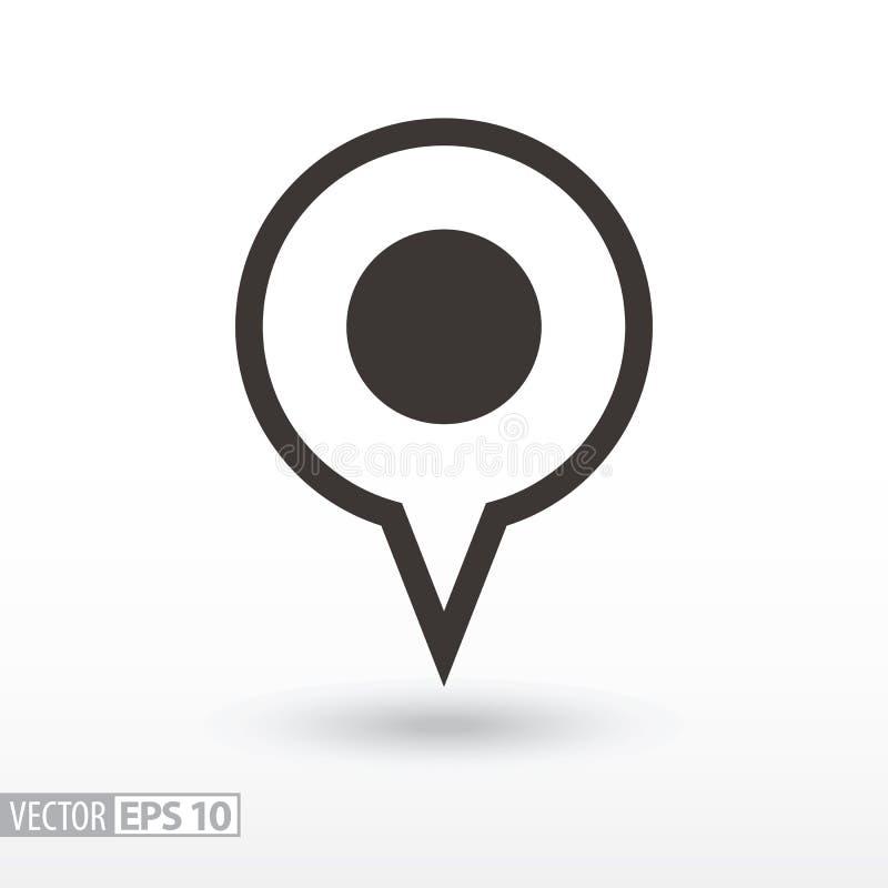 Het vlakke pictogram van de speldplaats De plaats van de tekenspeld vector illustratie