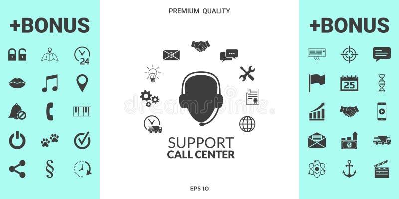 Het vlakke pictogram van de technische ondersteuningexploitant royalty-vrije illustratie