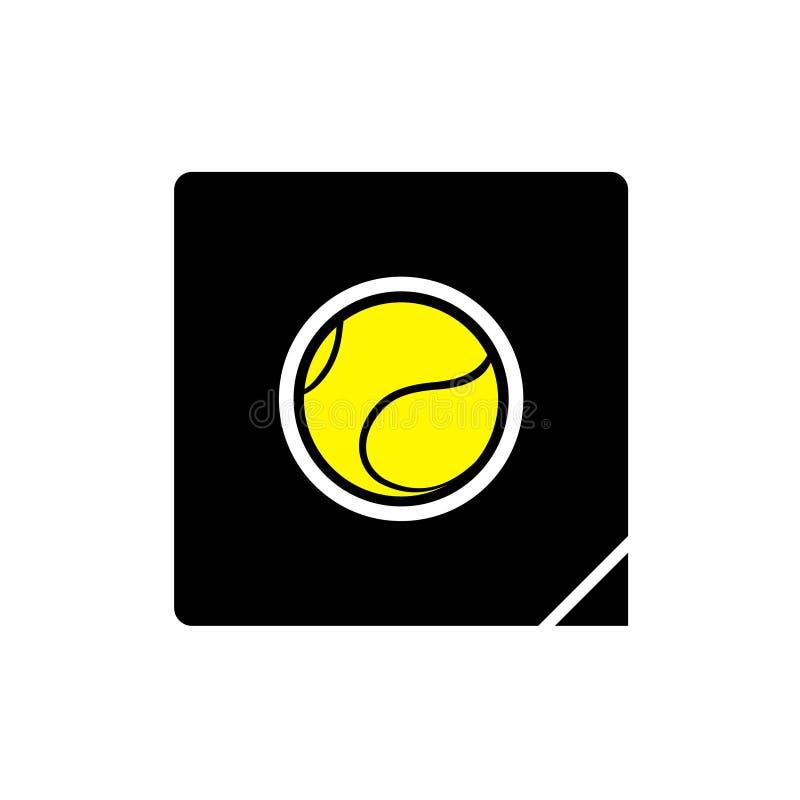 Het vlakke pictogram van de tennisbal royalty-vrije illustratie