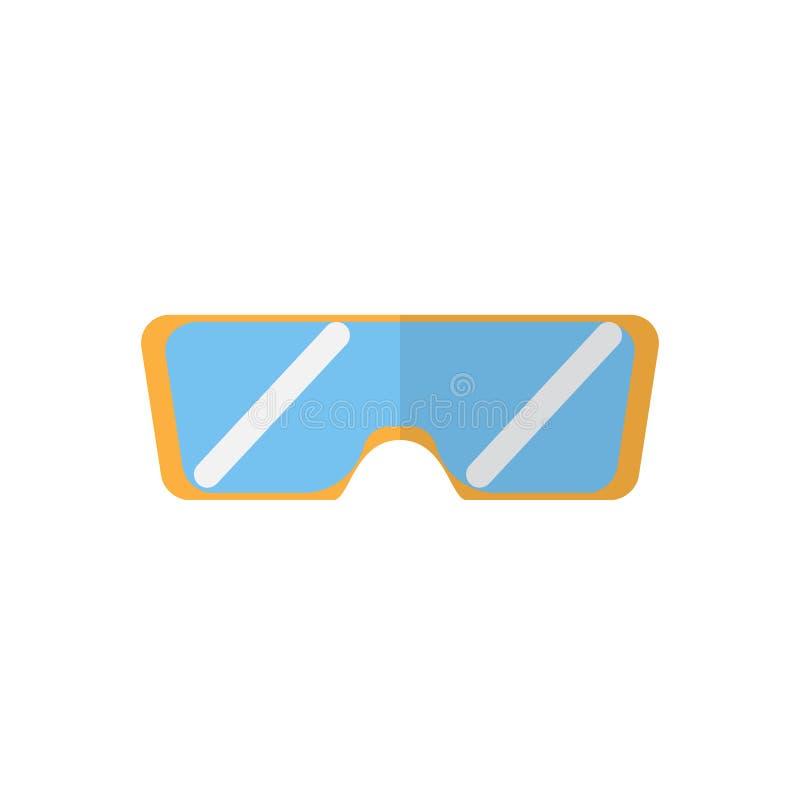 Het vlakke pictogram van de veiligheidsbril, gevuld vectorteken, kleurrijk die pictogram op wit wordt geïsoleerd royalty-vrije illustratie