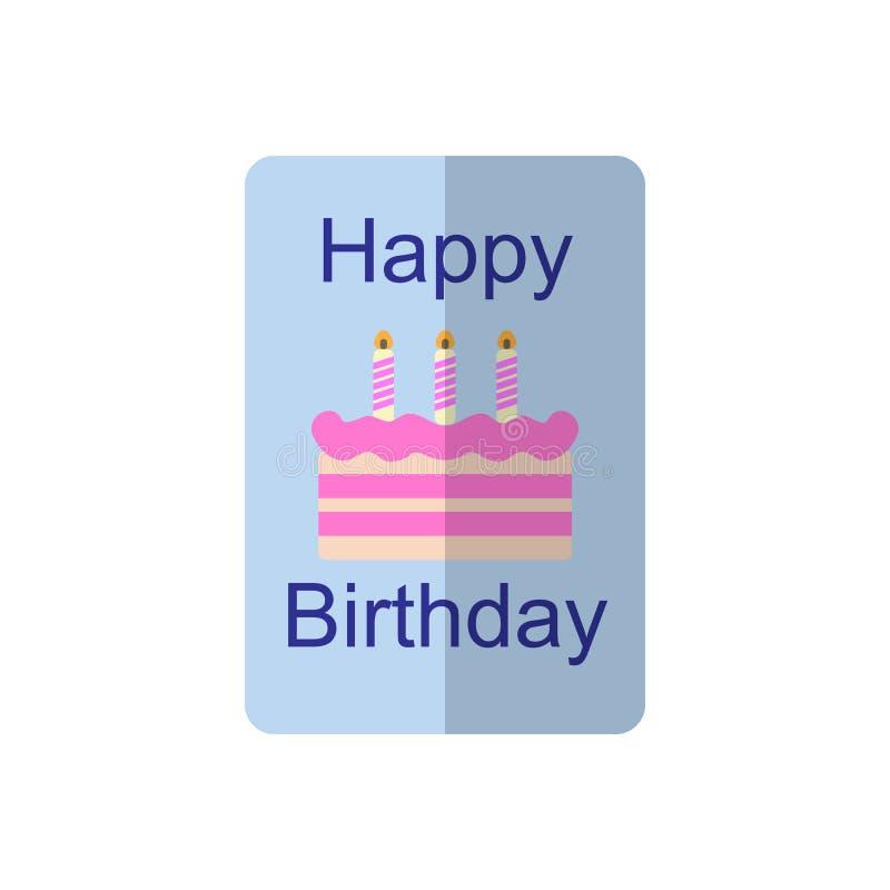 Het vlakke pictogram van de verjaardagskaart, gevuld vectorteken, kleurrijk die pictogram op wit wordt geïsoleerd stock illustratie