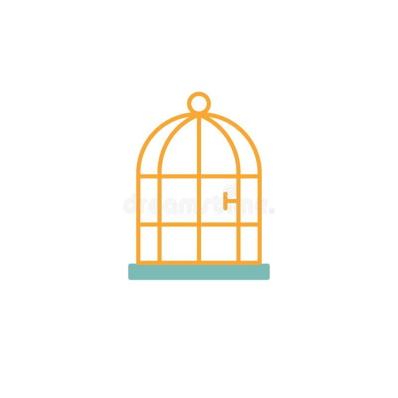 Het vlakke pictogram van de vogelkooi royalty-vrije illustratie