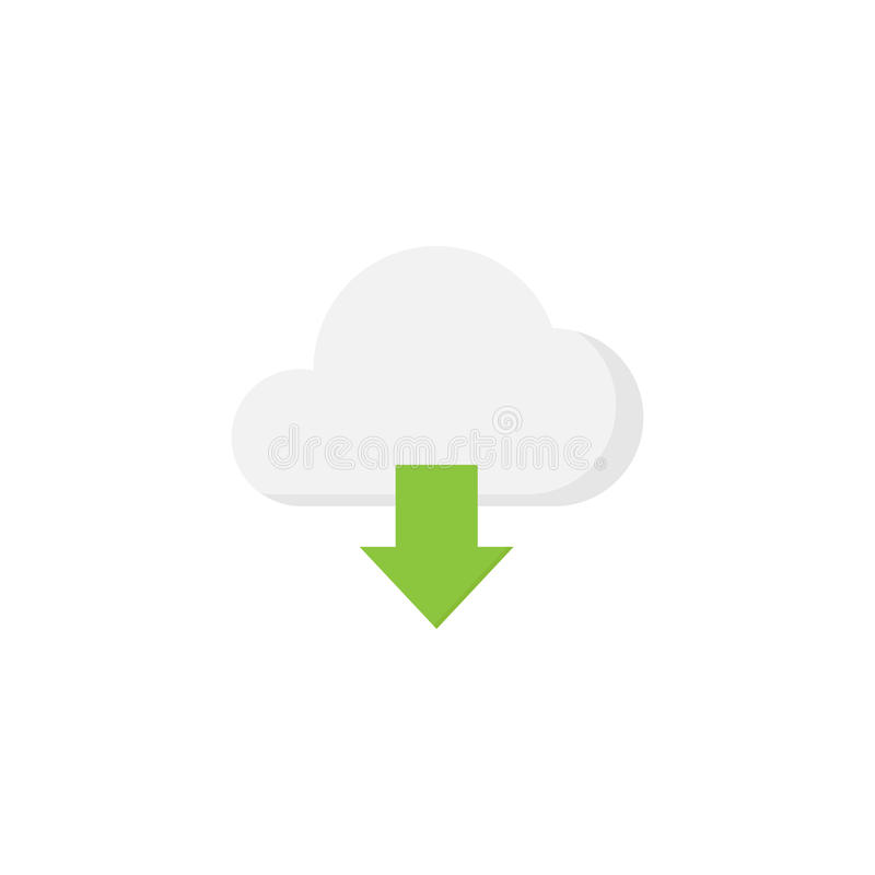 Het vlakke pictogram van de wolkendownload stock illustratie
