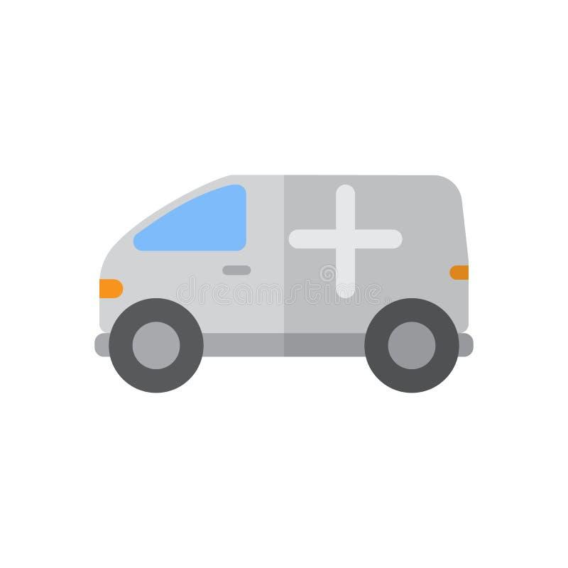Het vlakke pictogram van de ziekenwagenvrachtwagen, gevuld vectorteken, kleurrijk die pictogram op wit wordt geïsoleerd royalty-vrije illustratie