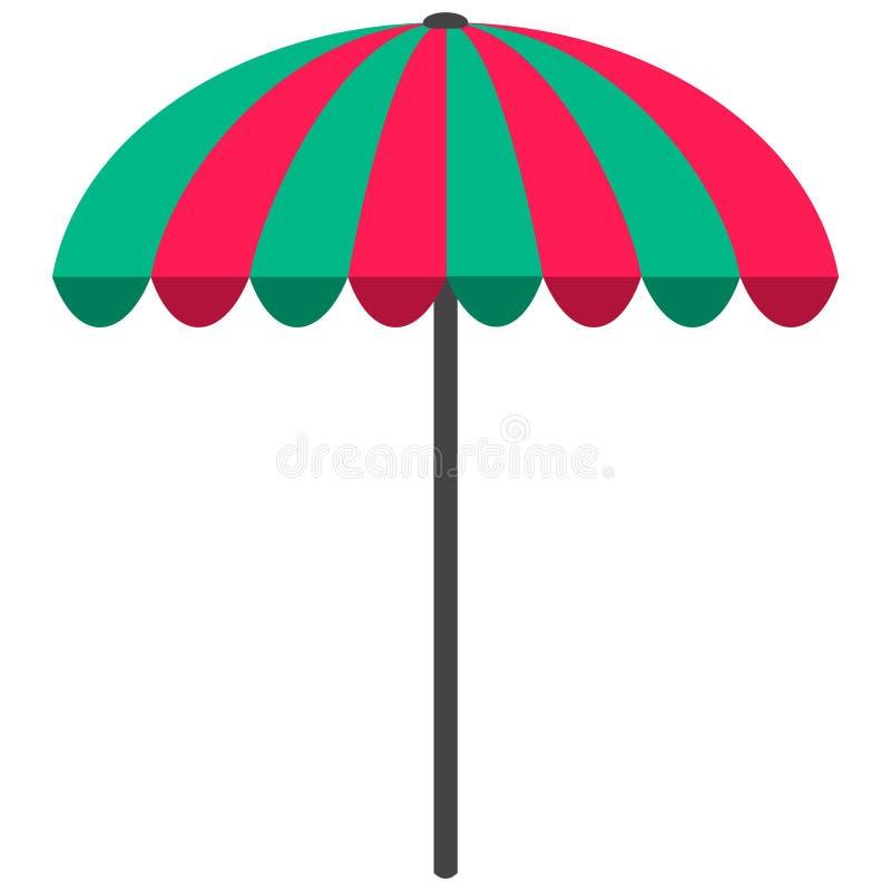 Het vlakke pictogram van de zonparaplu, reis en toerisme, parasol, strandparaplu, concept de zomervakantie royalty-vrije illustratie