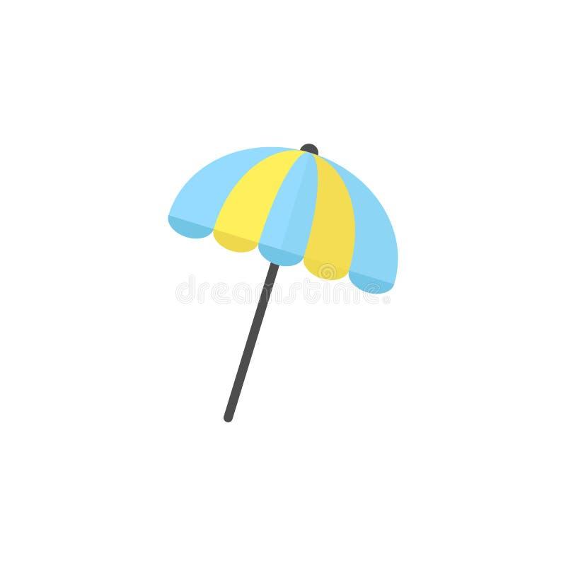 Het vlakke pictogram van de zonparaplu, reistoerisme stock illustratie