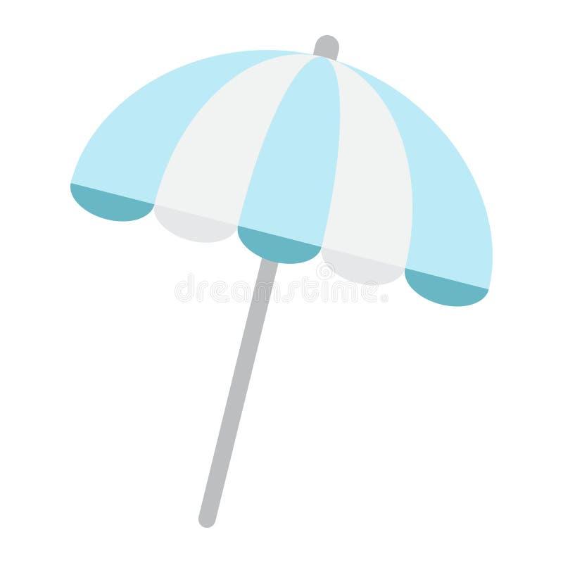 Het vlakke pictogram van de zonparaplu, reistoerisme, parasol stock illustratie
