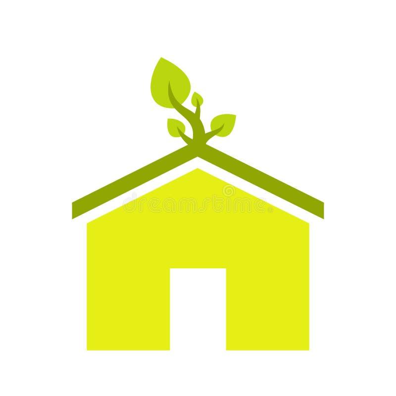 Het vlakke pictogram van het Ecohuis stock illustratie