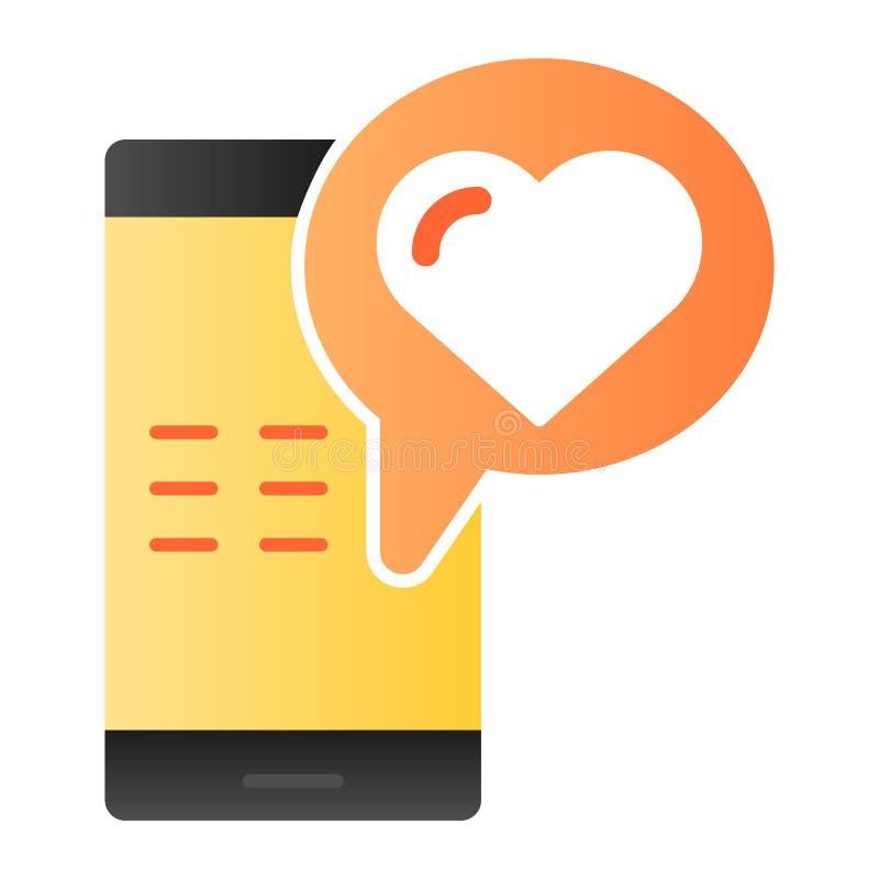 Het Vlakke Pictogram van het liefdebericht Smartphone met de pictogrammen van de liefde sms kleur in in vlakke stijl Telefoon met vector illustratie