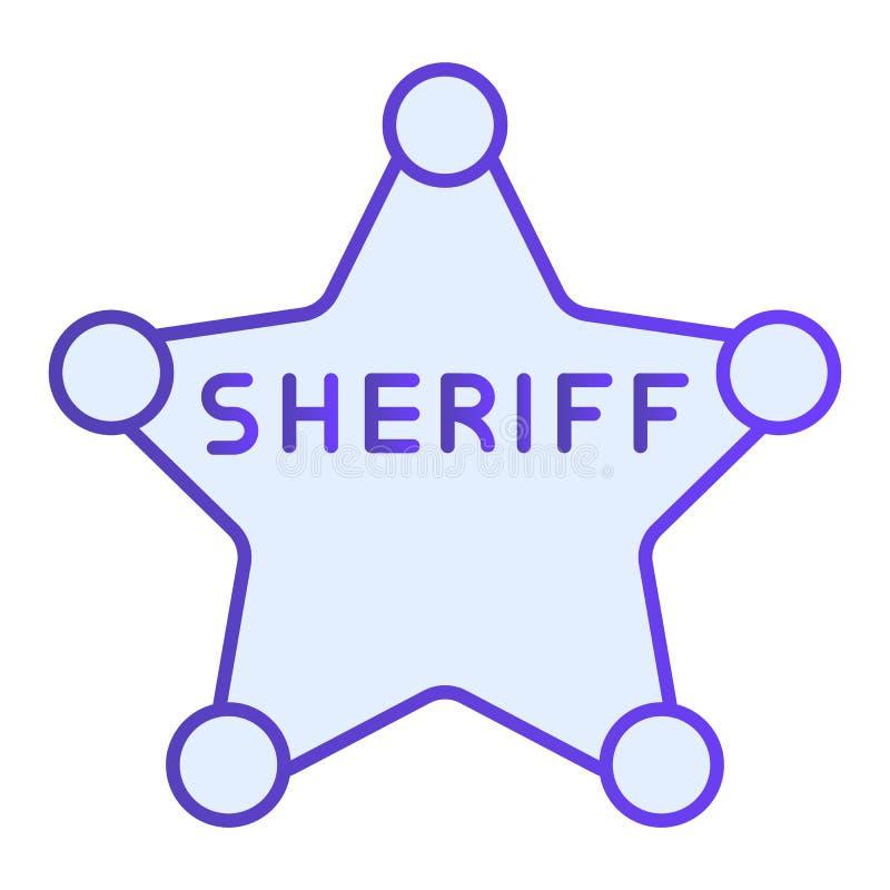 Het vlakke pictogram van het sheriffkenteken De blauwe pictogrammen van het politiekenteken in in vlakke stijl De stijlontwerp va royalty-vrije illustratie