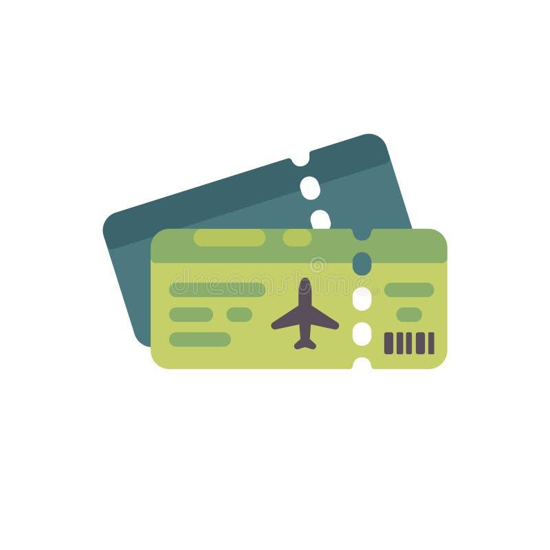 Het vlakke pictogram van twee vliegtuigkaartjes royalty-vrije illustratie