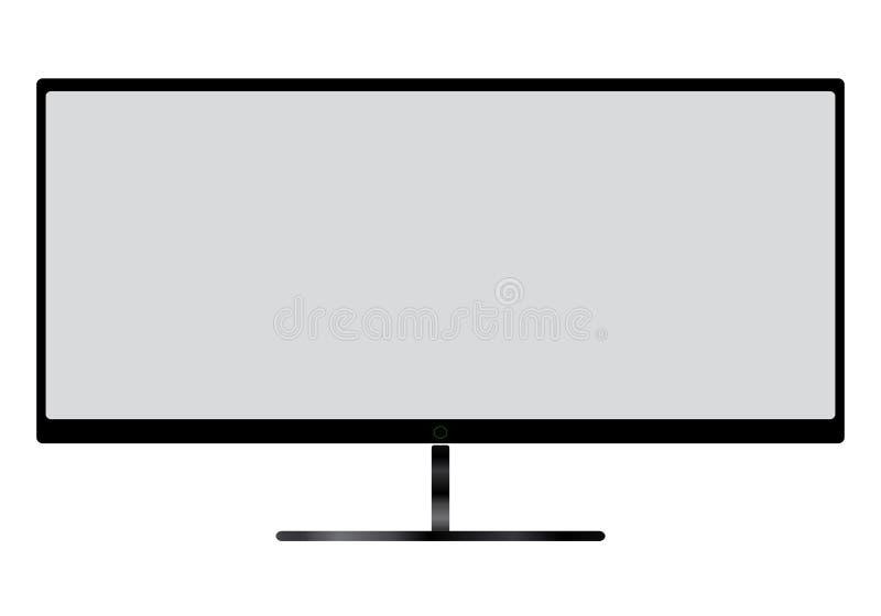 Het vlakke scherm lcd, plasma realistische illustratie van TV met het grijze scherm vector illustratie