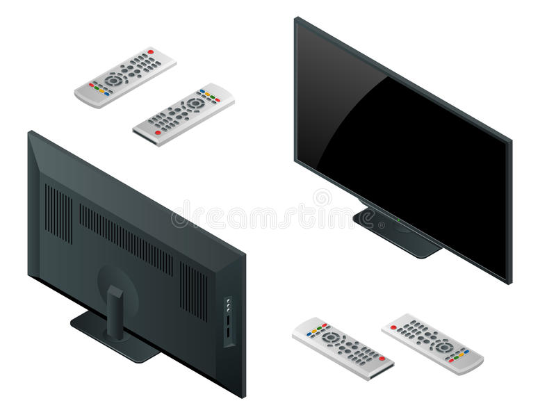 Het vlakke scherm lcd, plasma realistische vectorillustratie, TV-spot van TV omhoog Zwart HD-monitormodel Moderne videopaneelzwar vector illustratie