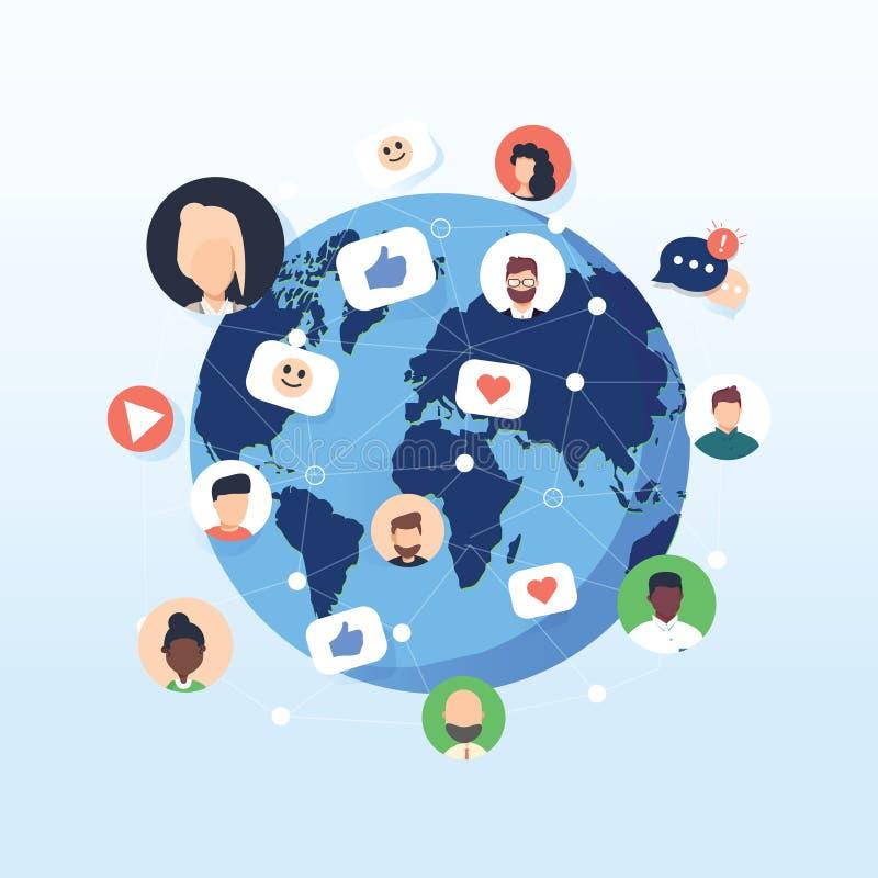 Het vlakke sociale netwerk van het ontwerpconcept Volkeren die rond de wereld aan lijn en avatar pictogram verbinden Vector vector illustratie