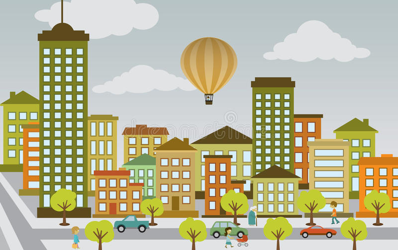 Het vlakke stadsleven stock illustratie