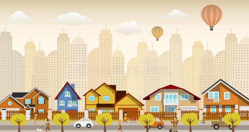 Het vlakke stadsleven (retro kleuren) royalty-vrije illustratie
